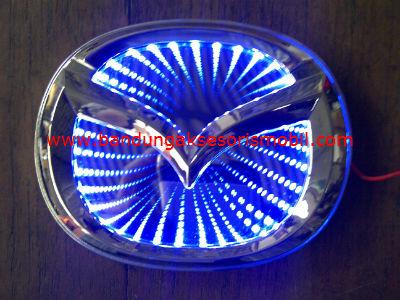 Front Logo + Lampu 3D Mazda Biru