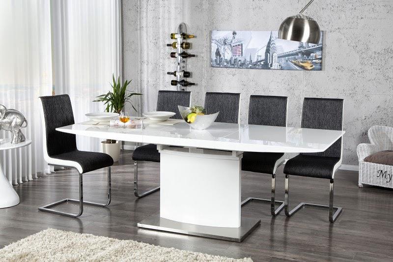Roztahovaci jedalensky stôl Kalich, moderny stôl do jedalne v bielej lesklej farbe
