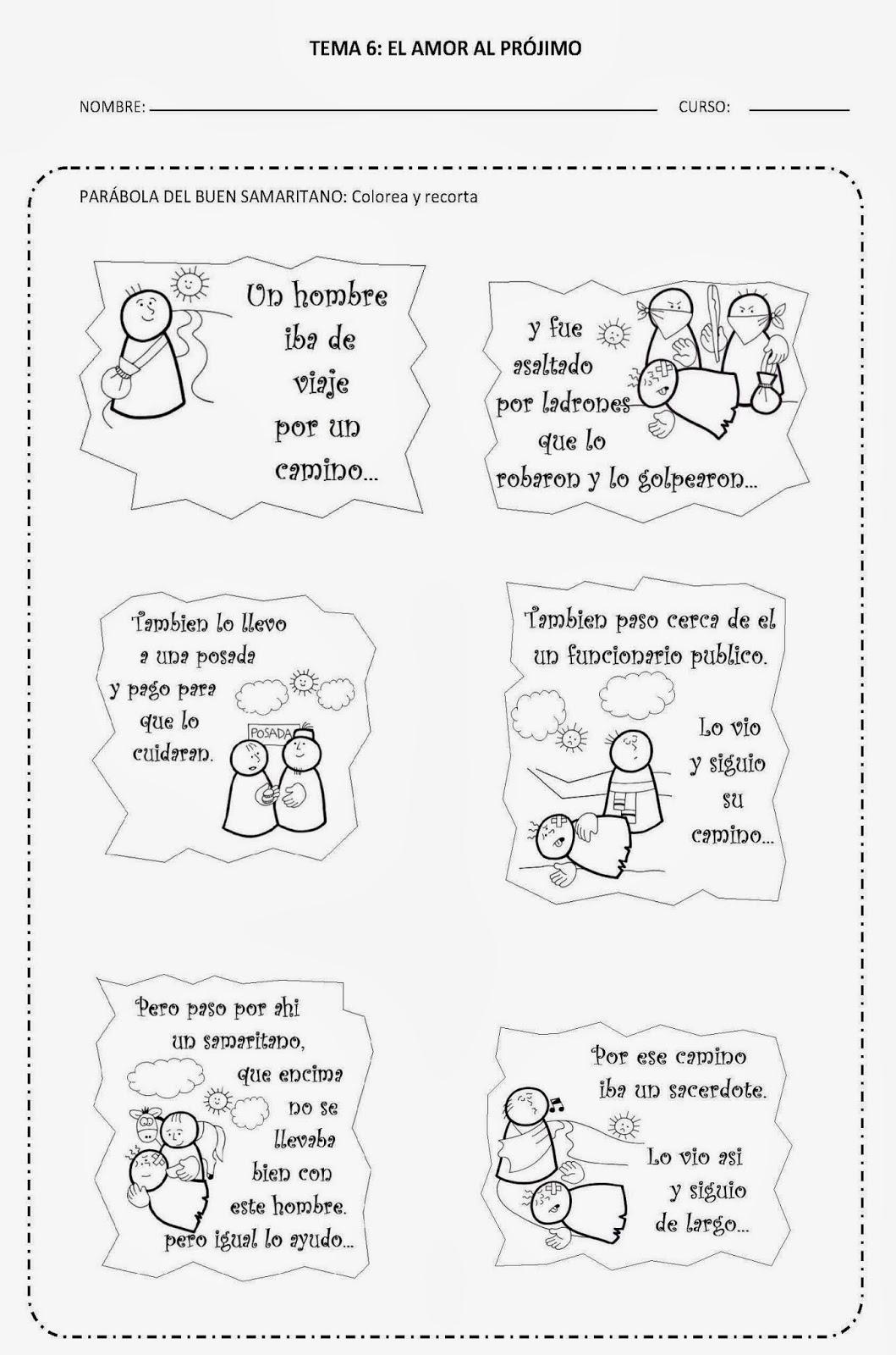 Aprendemos en reli: TEMA 6: AMOR AL PRÓJIMO - FICHAS 2 Y 3