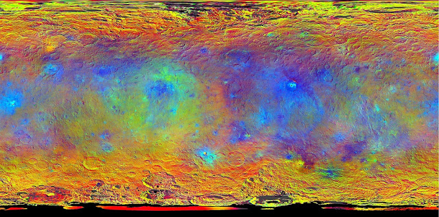 This map-projected view of Ceres was created from images taken by NASA's Dawn spacecraft during its high-altitude mapping orbit, in August and September, 2015. Image Credit: NASA/JPL-Caltech/UCLA/MPS/DLR/IDA