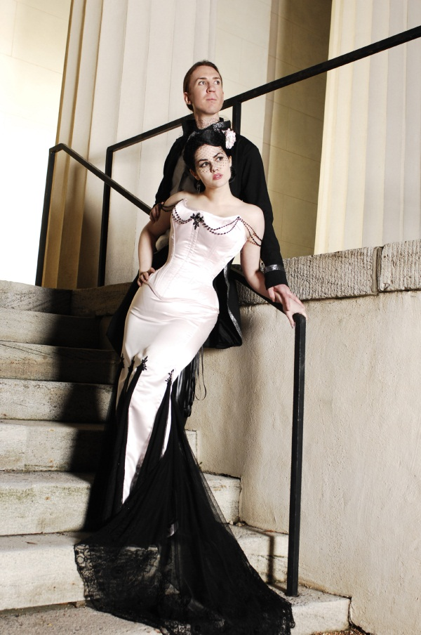 corset white and black wedding dress