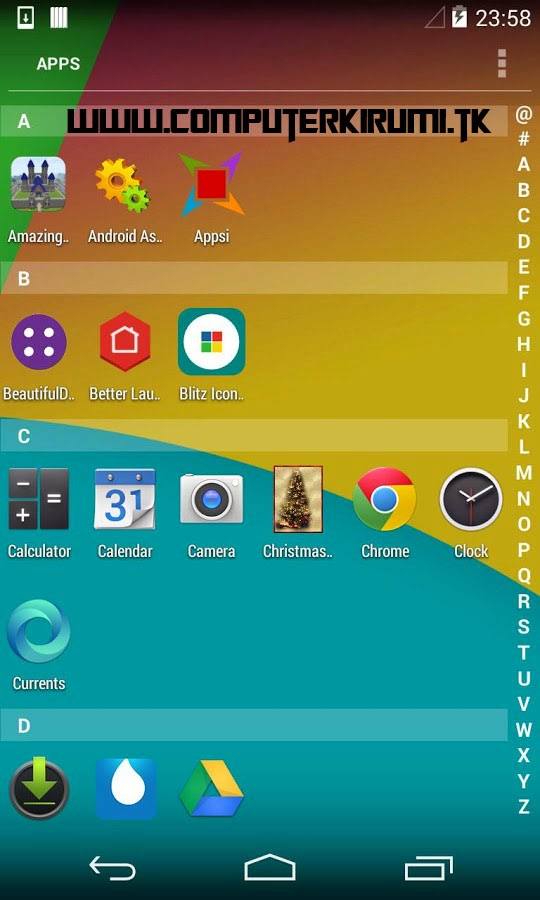 KITKAT LAUNCHER-Best ANDROID LAUNCHER WITH KITKAT THEME-menu sorted