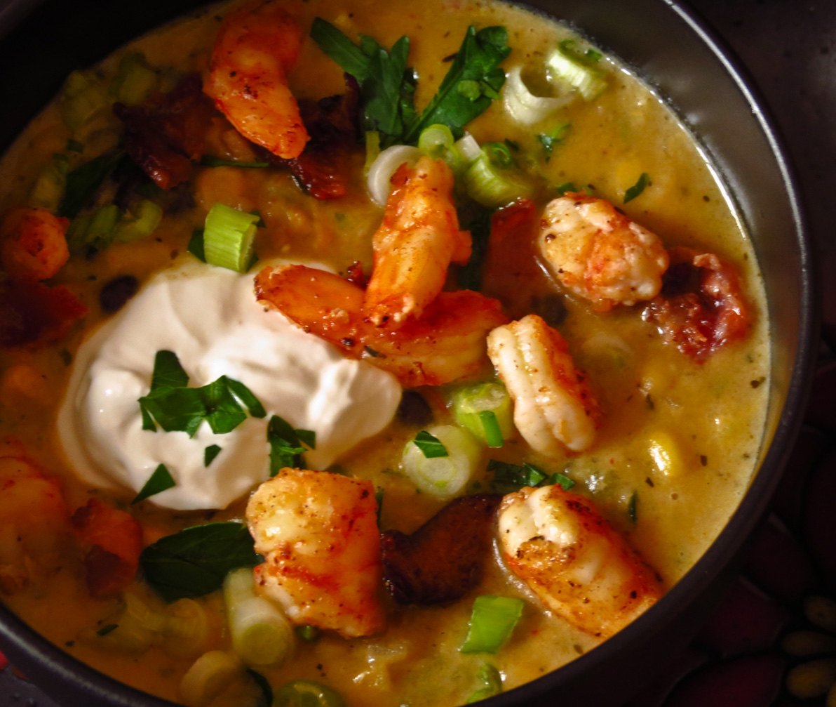 OnTheMove-In the Galley: Corn Chowder with Shrimp