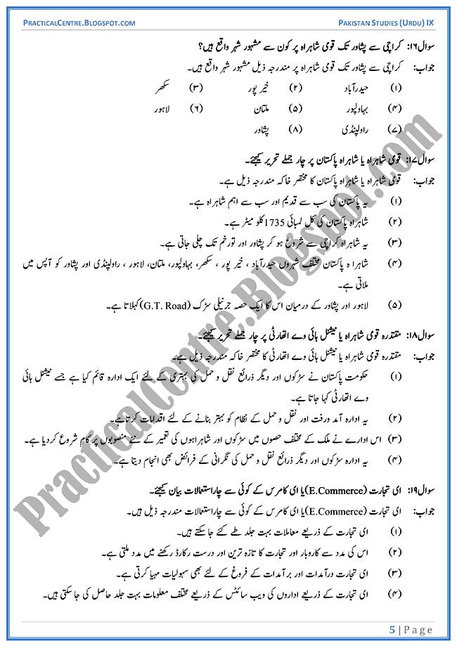 industrial-development-in-pakistan-short-question-answers-pakistan-studies-urdu-9th