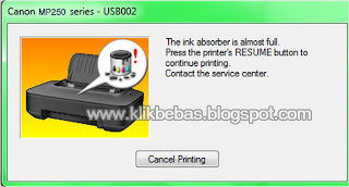 Ink absorber is full mp258