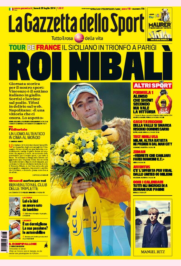 La Gazzetta en honor a Nibali, de amarillo
