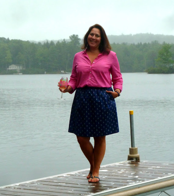 Liesl + Co.'s Everyday skirt in Sarah Jane's Out to Sea Anchors Away print. alidiza: Anchors Away Everyday Skirt