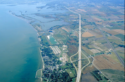 aerial photo of lake erie lotus beds, i-75, michigan