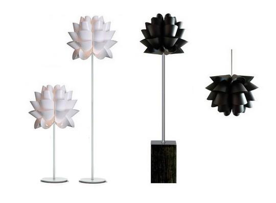 Luminária Lótus Black e Pedestal