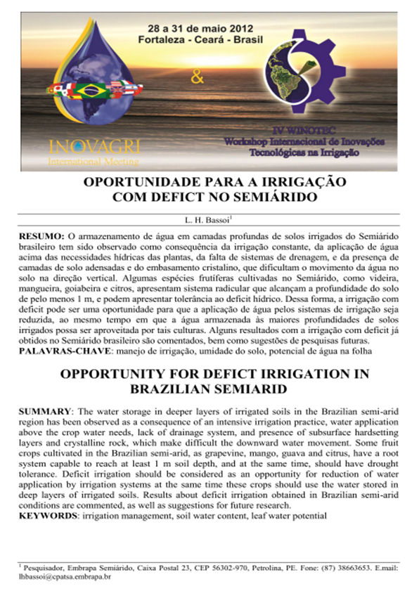 Paper:opportunity for deficit irrigation in Brazilian Semiarid