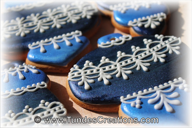 Blue gingerbread Christmas ornaments