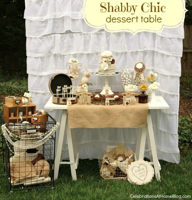 Celebrationsathomeblog 2013 04 Shabby Chic Dessert Table I Love All These Ideas And May Try To Do Some Of My Own That Are Similar