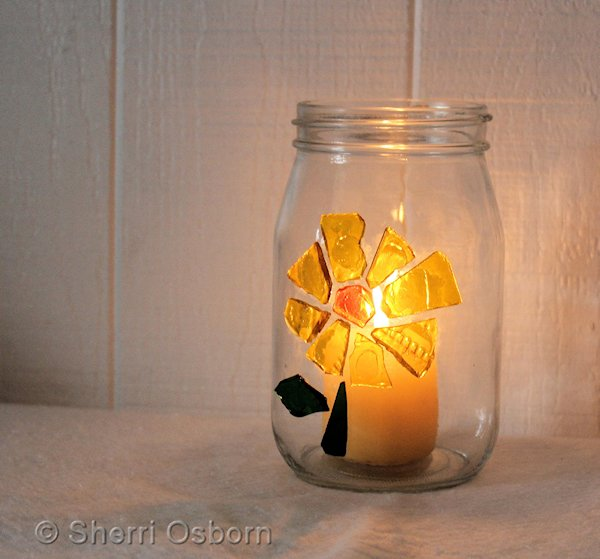 Crafts With Jars Stained Glass Candle Holder