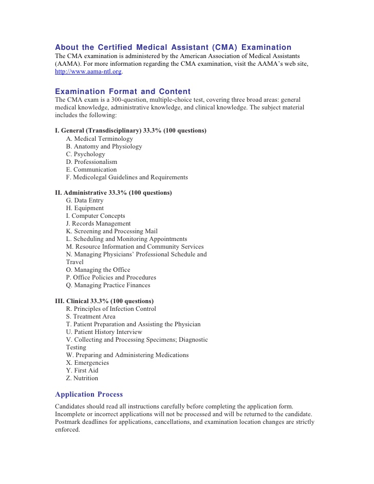 CMA (AAMA) - Cma Certified Medical Assistant - Assistant Information ...
