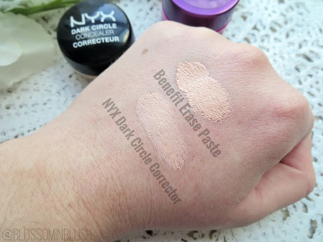 a picture of Benefit Erase Paste vs. NYX Dark Circle Concealer (swatch)