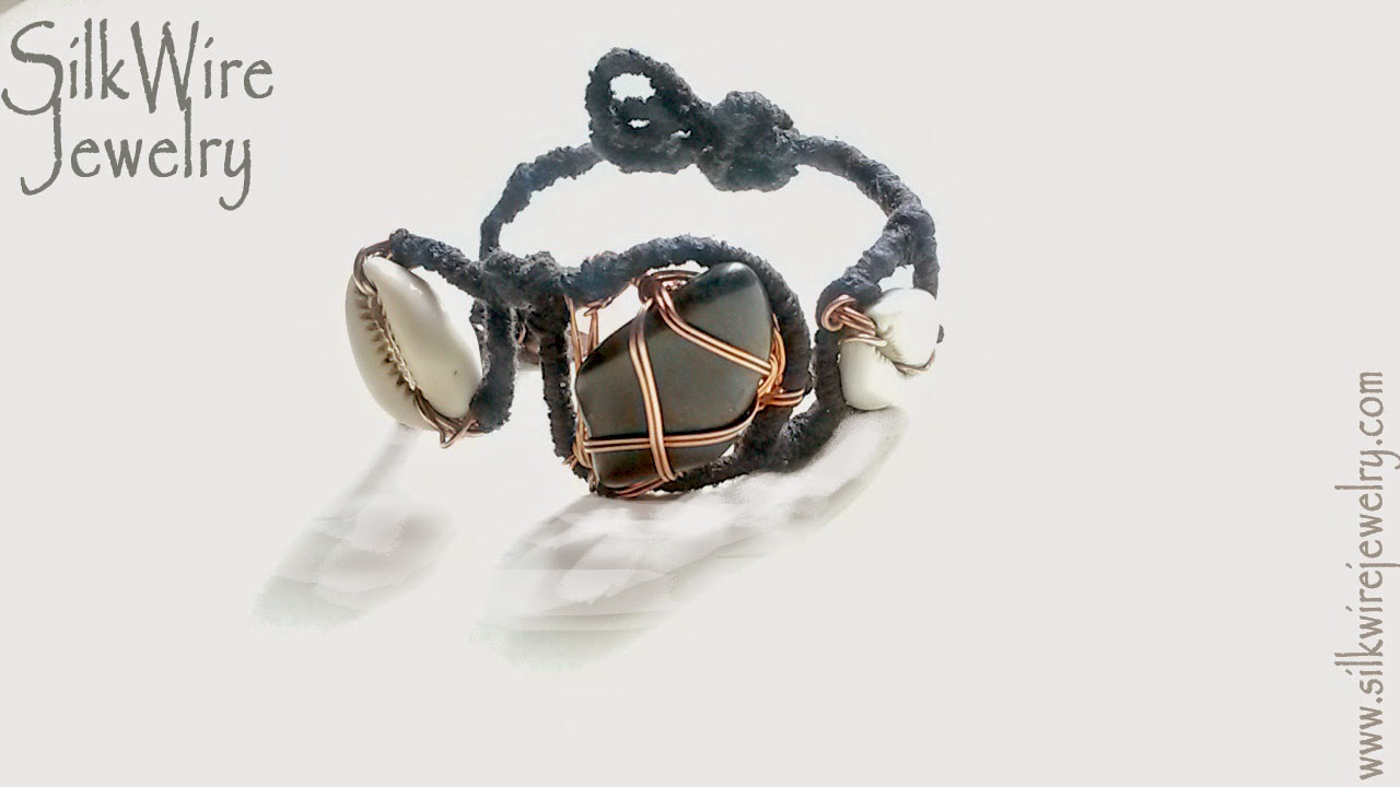 Silk Bracelet with Onyx and Cowrie Shells by SilkWire Jewelry