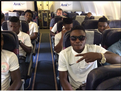 Super Eagles Team Arrive In South Africa Ahead Of The 2016 African Nations Championship. Photos
