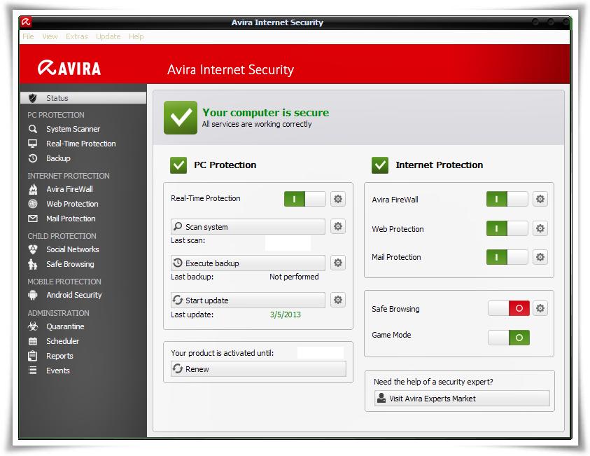Miễn phí phần mềm diệt virut Avira Internet Security 2013 Full Key