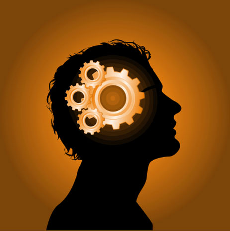 mecanismo com engrenagens dentro de uma cabeça em perfil