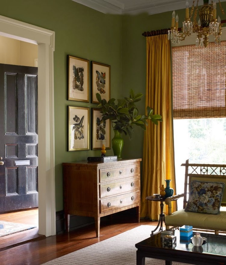 Trendy living room paint colors and color combinations in 2015 Green wall color