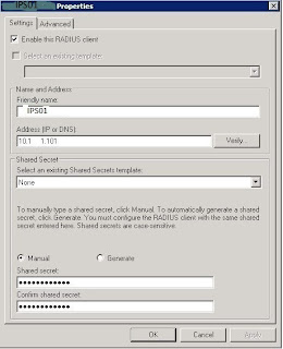 Adding an IPS as a radius client
