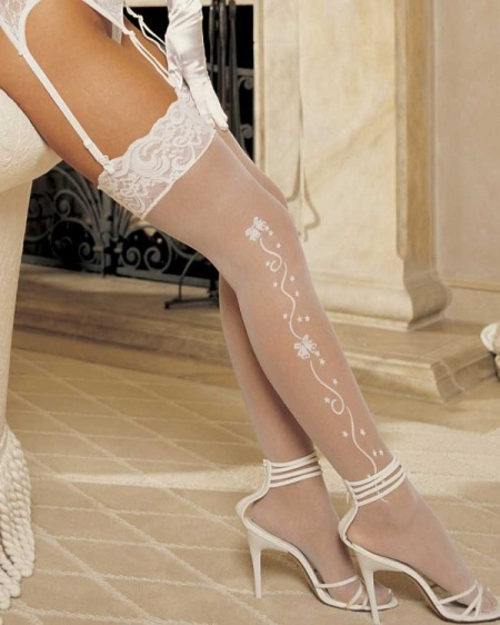 White Lace Top Wedding Stockings