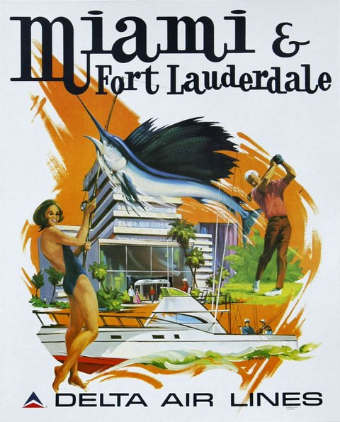 classic posters, free download, graphic design, retro prints, skiing, sports, travel, travel posters, vintage, vintage posters, Miami and Fort Lauderdale, Delta Air Lines - Vintage Travel Poster