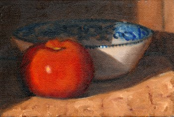 Oil painting of a red tomato in front of a blue porcelain bowl.
