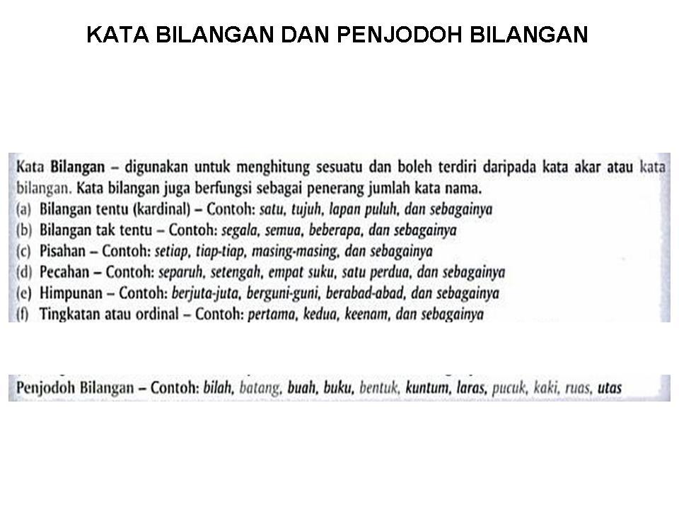 Bahasa Melayu Tingkatan Kata Bilangan Dan Penjodoh
