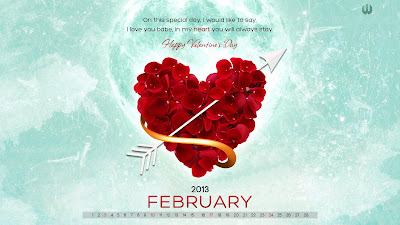 February Wallpapers Calendar 2013
