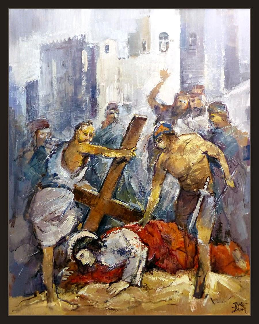 PASION-PINTURA-JESUS-MARTIRIO-CRUZ-JERUSALEN-VERSIONAR-PINTOR-ERNEST DESCALS