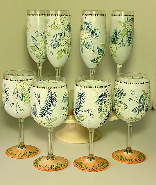 Custom Hawaiian Wedding Invitation Wine Glasses via www.kudoskitchenbyrenee.wazala.com