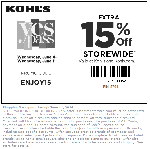 Kohls discount coupons in store