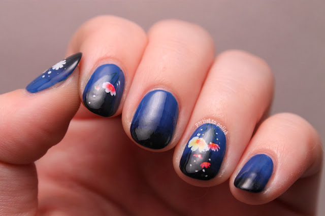 Blue Gradient Nails with Flowers
