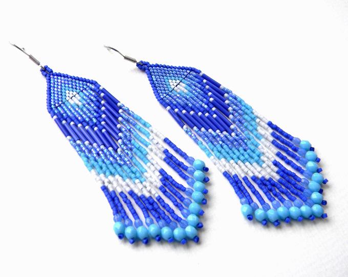 купить синие серьги из бисера с бахромой длинные