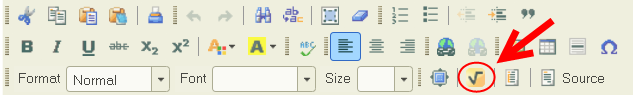 Sakai text editor toolbar with WIRIS icon on third row