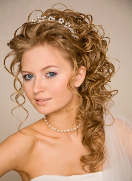 Weddings Hairstyle Curly Half-Up