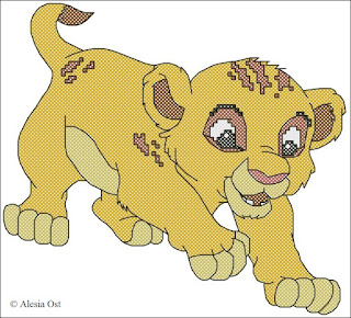 "A playful cub from ""The Lion King"". Simba, Disney, The Lion King, cartoon, lion, animal cross-stitch, back stitch, cross-stitch scheme, free pattern, x-stitchmagic.blogspot.it, вышивка крестиком, бесплатная схема, punto croce, schemi punto croce gratis, DMC, blocks, symbols"