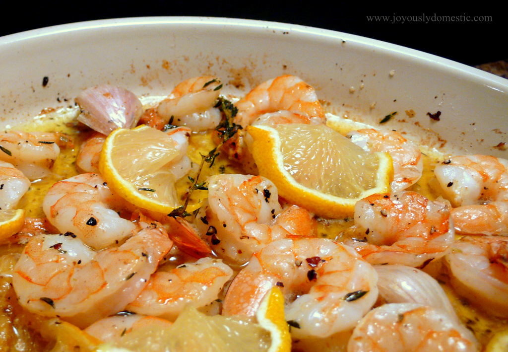 Joyously Domestic: Lemon, Herb & Garlic Baked Shrimp