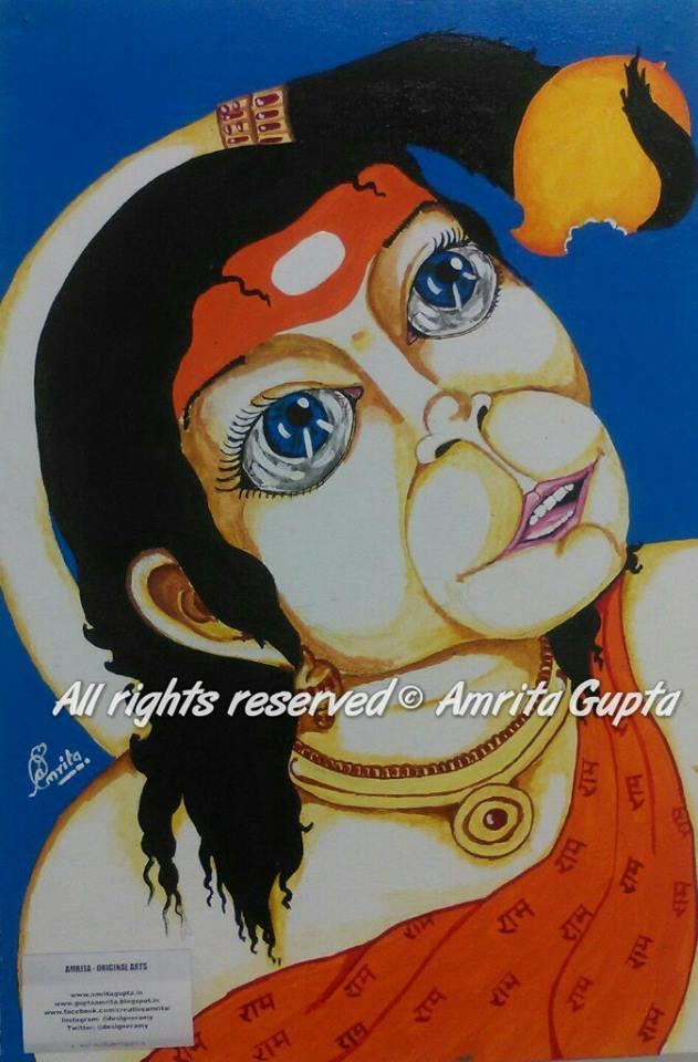 amrita gupta original painting of bal hanuman ji painted by amrita