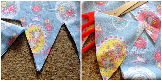 Easy Peasy No Sew Fabric Bunting DIY Craft Project on www.helloterrilowe.com