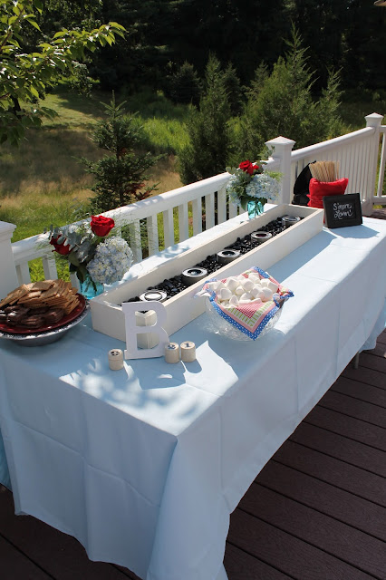 bridal shower s'more bar, s'mores bar