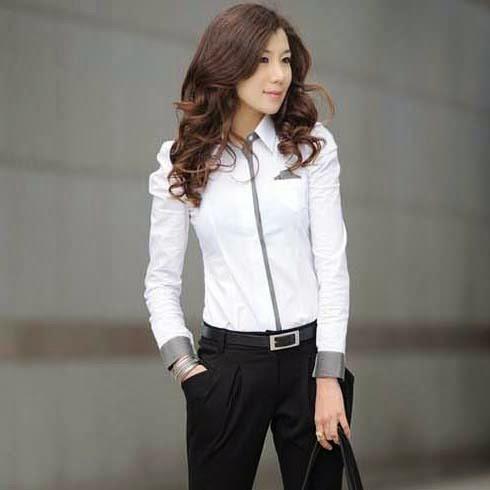 Blusas Elegantes Blancas, Manga Larga