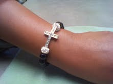 Black Onyx Crystal Cross & Pandora Bead Bracelet