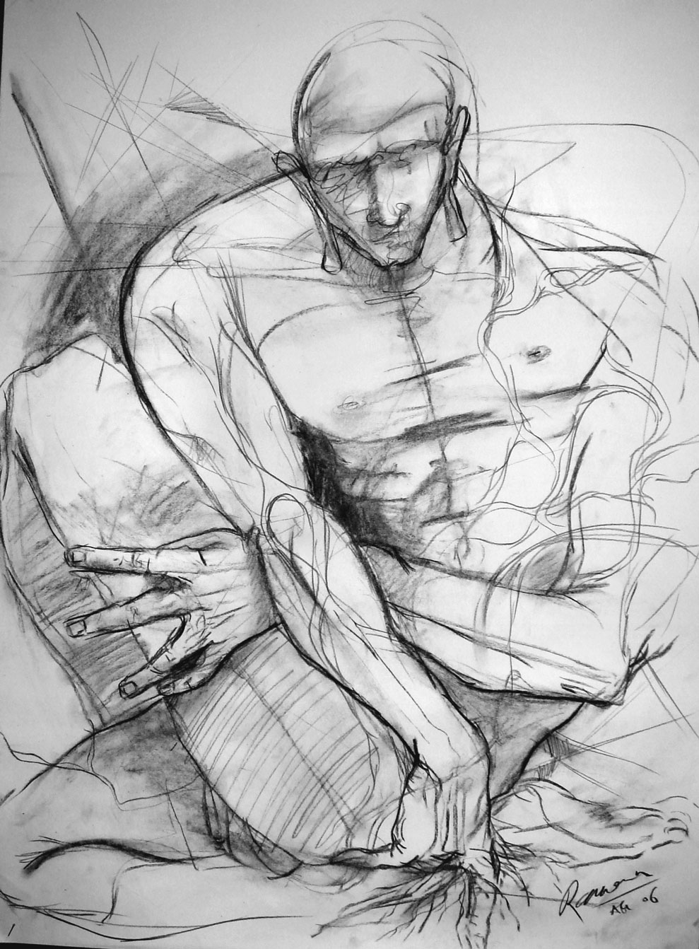 man drawing