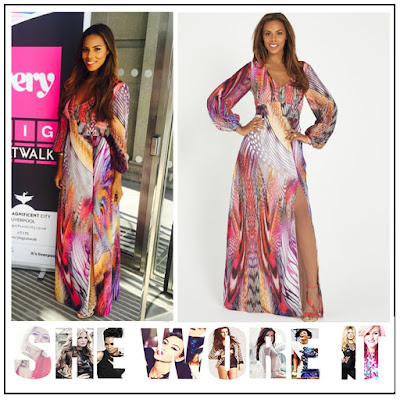 Animal Print, Bright, Dress, Empire Waist, Feather Print, Front Split, High Waisted, Long Sleeve, Maxi Dress, Mixed Print, Multicoloured, Rochelle Humes, Rochelle Humes For Very, V-Neck,