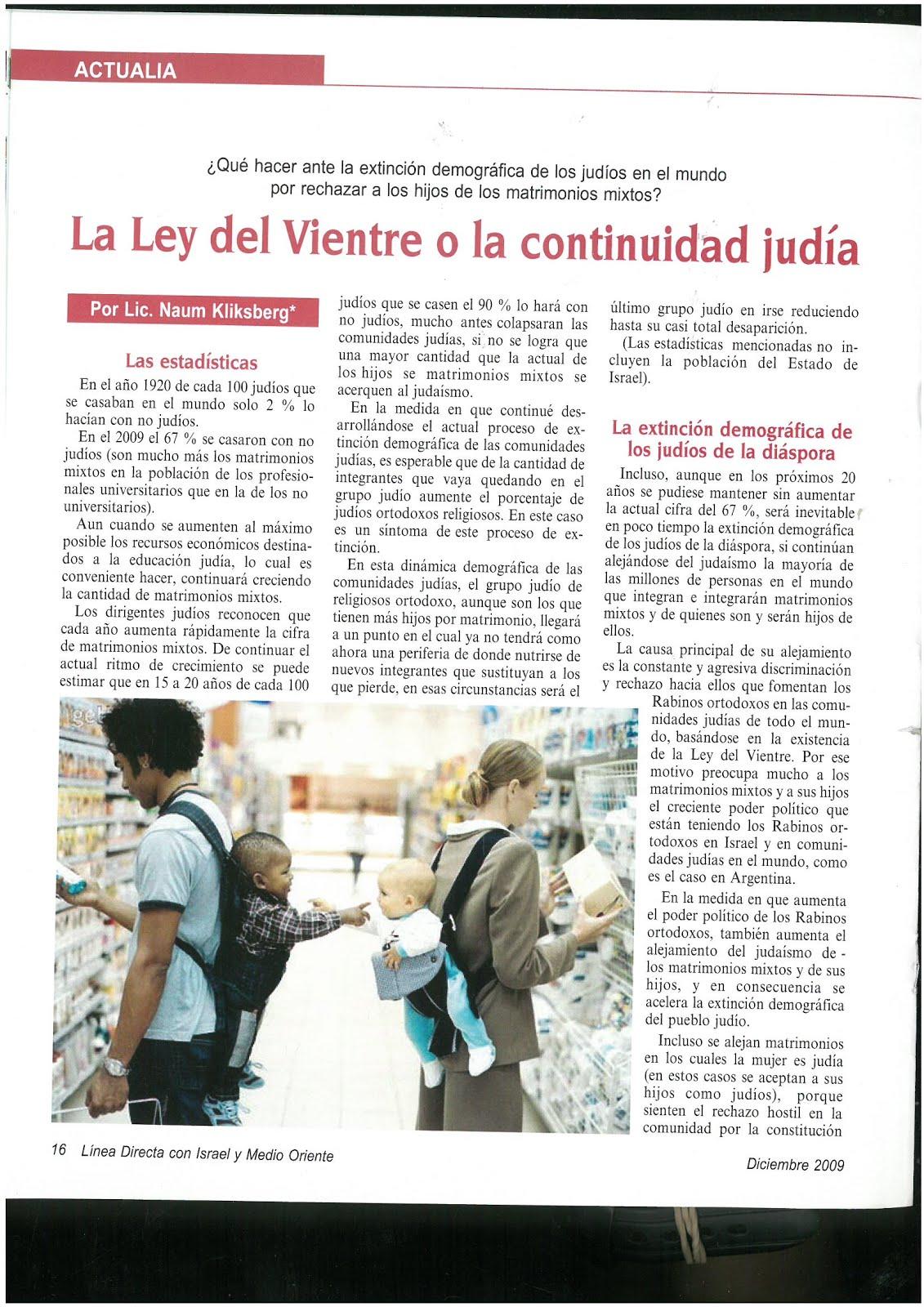 51 -Revista Israelí Linea Directa con Israel y Medio Oriente.12//2009. Artículo de Naum Kliksberg.