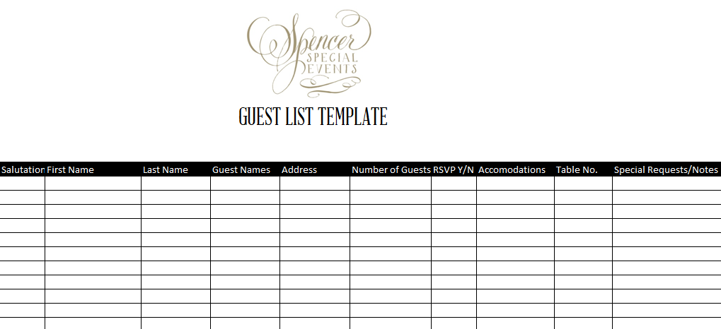 Spencer Special Events Guest List Template – Event Guest List Template