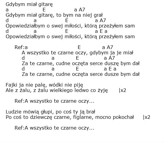 Polish Songs With Lyrics Chords March 2013