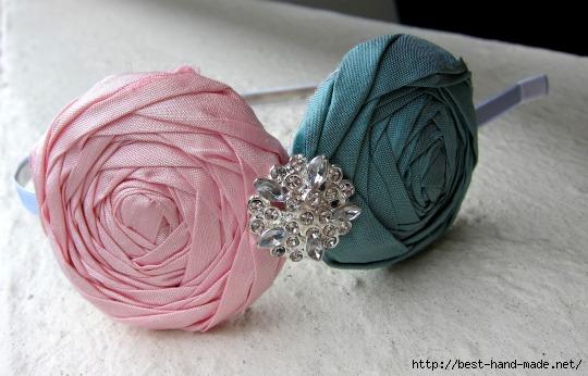 цветок из скрученной ткани МК